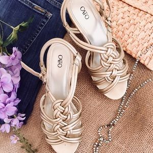 """Gold Woven Wedge Cork Sandals by """"Cato"""""""